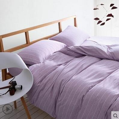 天竺棉四件套純棉簡約條紋床單被套針織棉全棉床笠床上用品荷色寬條