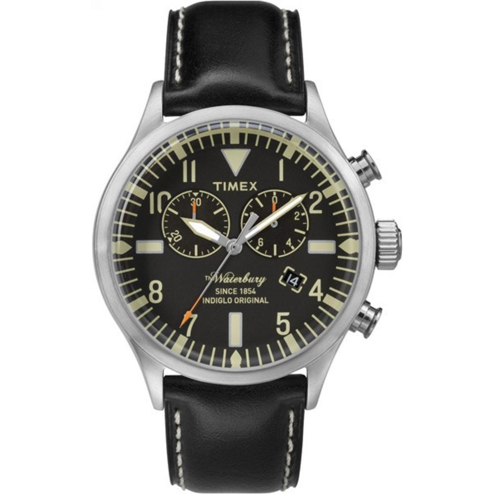 【TIMEX】天美時雙眼計時腕錶Waterbury Chronograph系列(黑面/黑色帶 TXT2P64900)