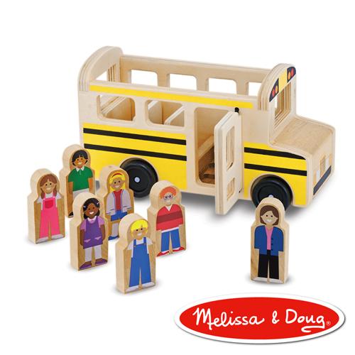 美國瑪莉莎Melissa Doug交通工具小人國木質經典校車