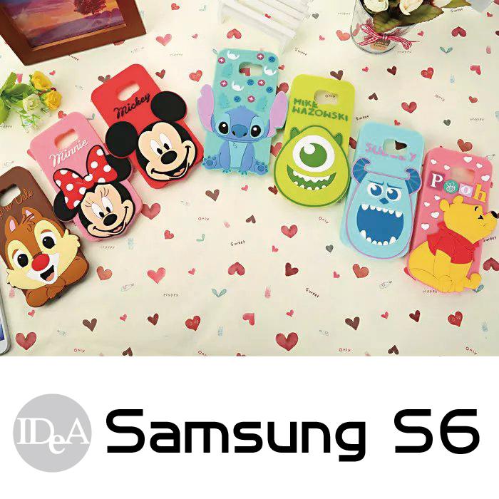 迪士尼三星S6 2D立體人物造型矽膠保護套大頭全身手機軟殼TPU Disney IDEA Samsung Galaxy史迪奇