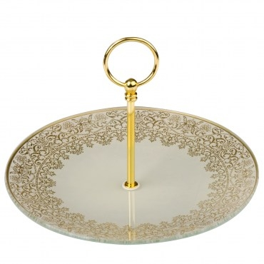 HOLA home凡爾賽宮廷白金蛋糕盤25cm