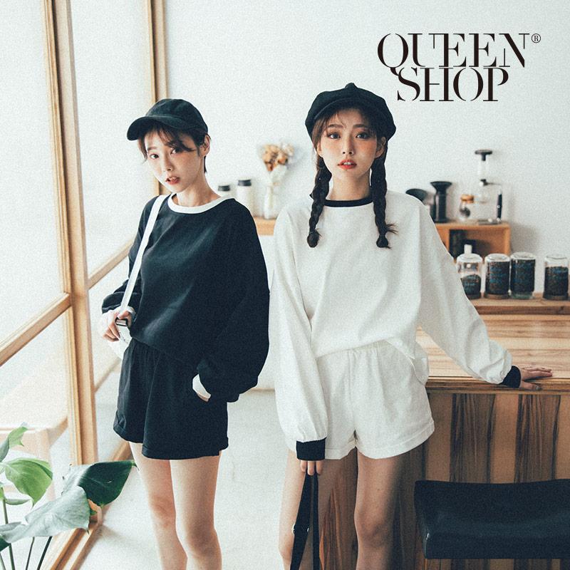 Queen Shop【01084638】素面撞色運動短褲套裝 兩色售*現+預*