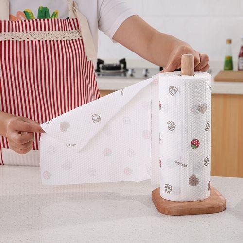 櫸木立式廚房紙巾架 創意實木捲紙架