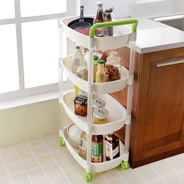 ♚MY COLOR♚手推式滑輪收納置物架 居家分類 廚房 衛浴 客廳 便捷  創意 整理 帶輪 (四層) 【W05-1】
