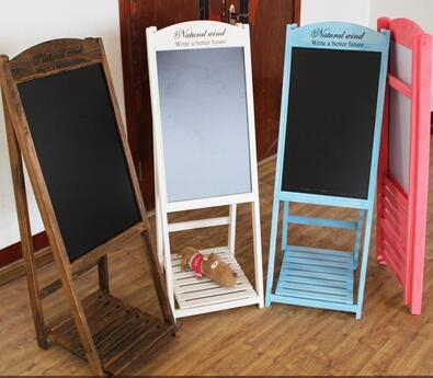 光視達復古實木黑板支架式餐廳咖啡店黑板花架廣告板立式小黑板
