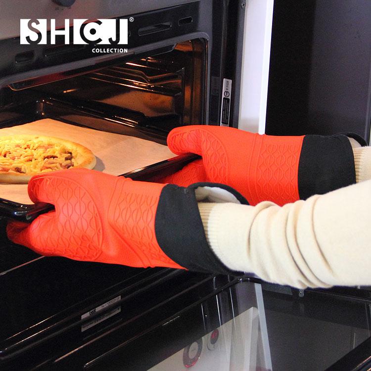 SHCJ 防燙矽膠隔熱手套2入組-加長型