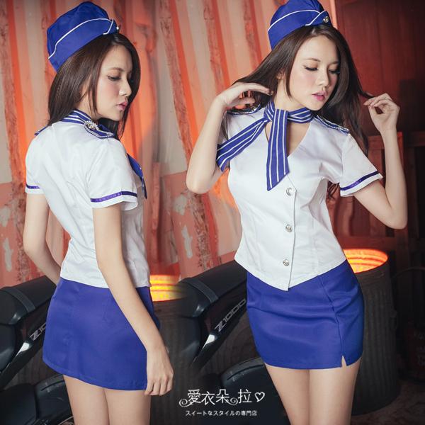 空姐 XXL-5XL 大尺碼角色扮演空姐制服窄裙套裝 愛衣朵拉