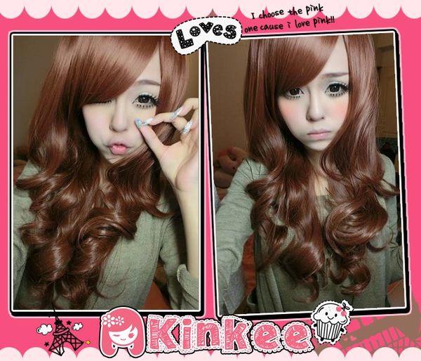 Kinkee假髮愛依示範俏甜女孩大受好評旁分中分浪漫捲耐熱長微捲假髮K0060