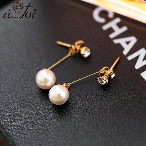 耳環正韓鑲鑽垂吊式珍珠耳環-Ruby s露比午茶