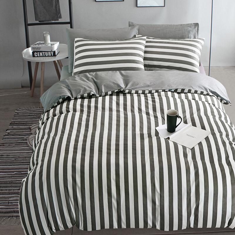 雙人床包組紳士標準雙人北歐簡約風黑白純棉床包雙人枕套被套床包ikea床單佛你企業
