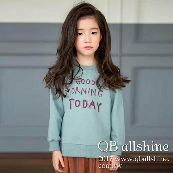 女童上衣 基本款百搭字母開岔長袖大學T衛衣 韓國外貿中大童 QB allshine