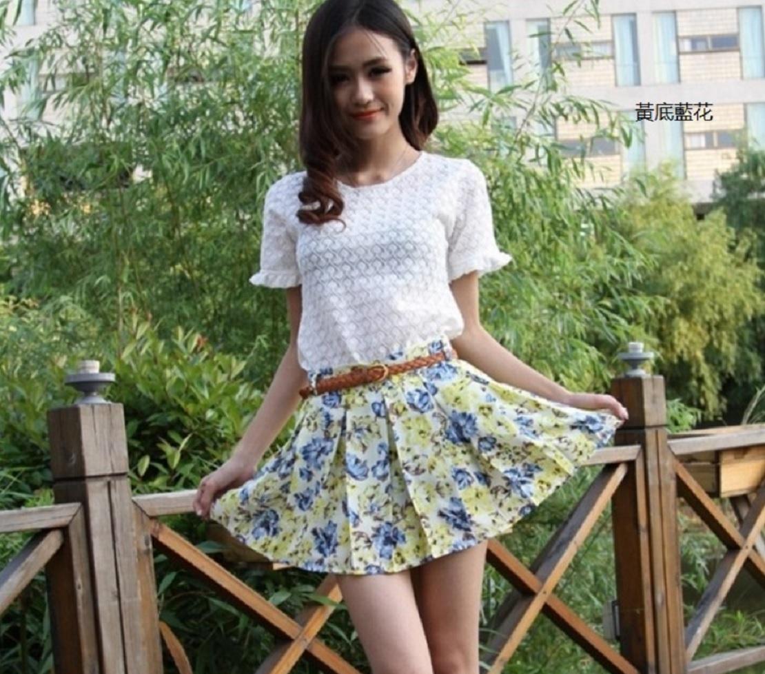夏款花卉雪紡防走光短裙   迷你裙  百褶裙 Cindygirl A231