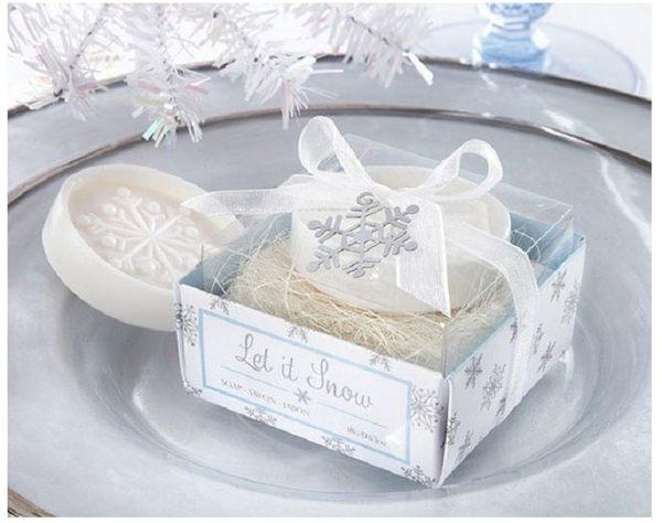 歐美婚禮小物-透明盒雪花香皂禮盒份~送客禮開幕禮探房禮