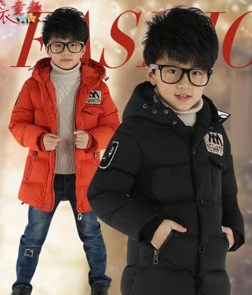衣童趣 ♥韓版男童長版外套 中大童長款男孩上衣外套 防風保暖帥氣外套【黑色】【現貨】