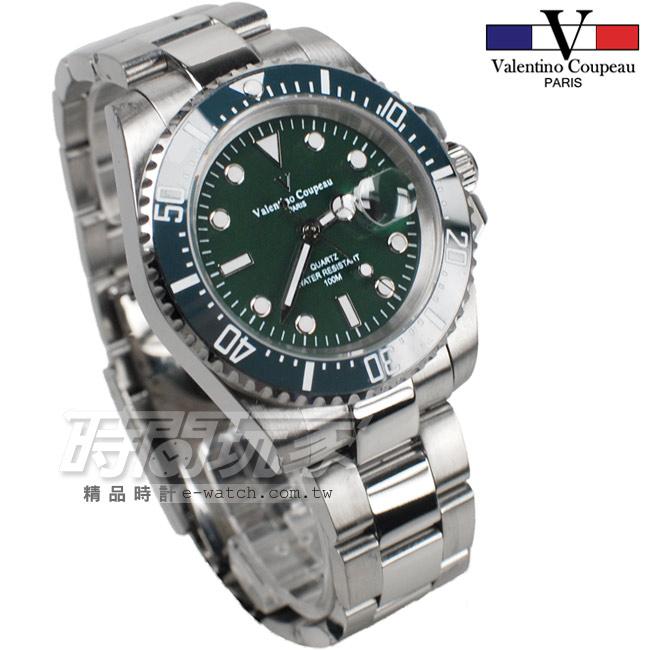 valentino coupeau范倫鐵諾夜光時刻不銹鋼防水男錶墨綠色面盤潛水錶水鬼石英錶V61589綠