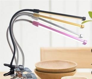 夾式檯燈360度彎曲LED調光調色溫黃光白光LED檯燈桌燈書桌燈化妝燈蛇燈指甲燈