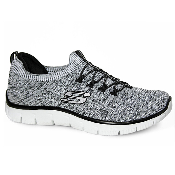 Skechers Empire女黑灰白麻灰休閒運動鞋輕量透氣編織記憶鞋墊懶人鞋Sharp健走鞋12418WBK