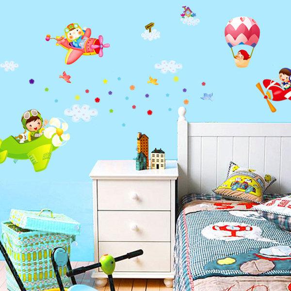 BO雜貨YV0603 DIY時尚壁貼牆貼壁紙創意璧貼小飛機飛高高飛機熱氣球空中PARTY AY1908