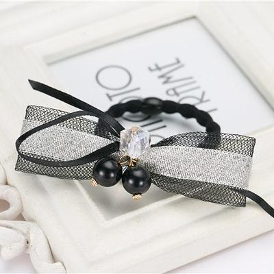 NiNi Me韓系髮飾壓克力水晶珍珠銀灰色網紗髮束亮片髮束髮束H9101