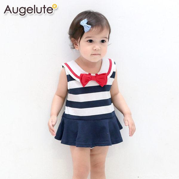 Augelute Baby無袖海軍領水手服造型包屁裙32018