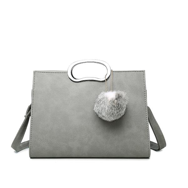 女包新款韓版復古貝殼包手提包大包包浅灰色小号配真兔毛球