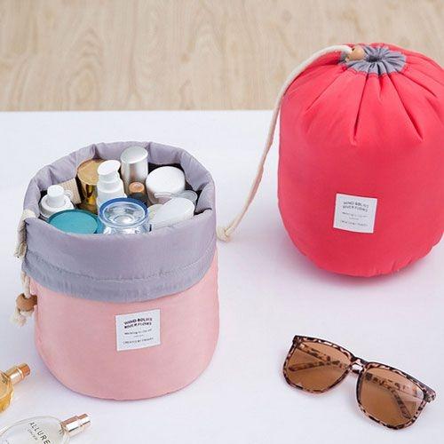 圓筒大容量束口化妝包 旅行用束口收納包