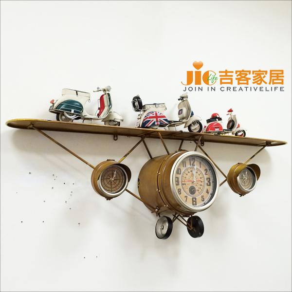 吉客家居家飾老式飛機造型鐘置物架手作風懷舊仿復古壁鐘
