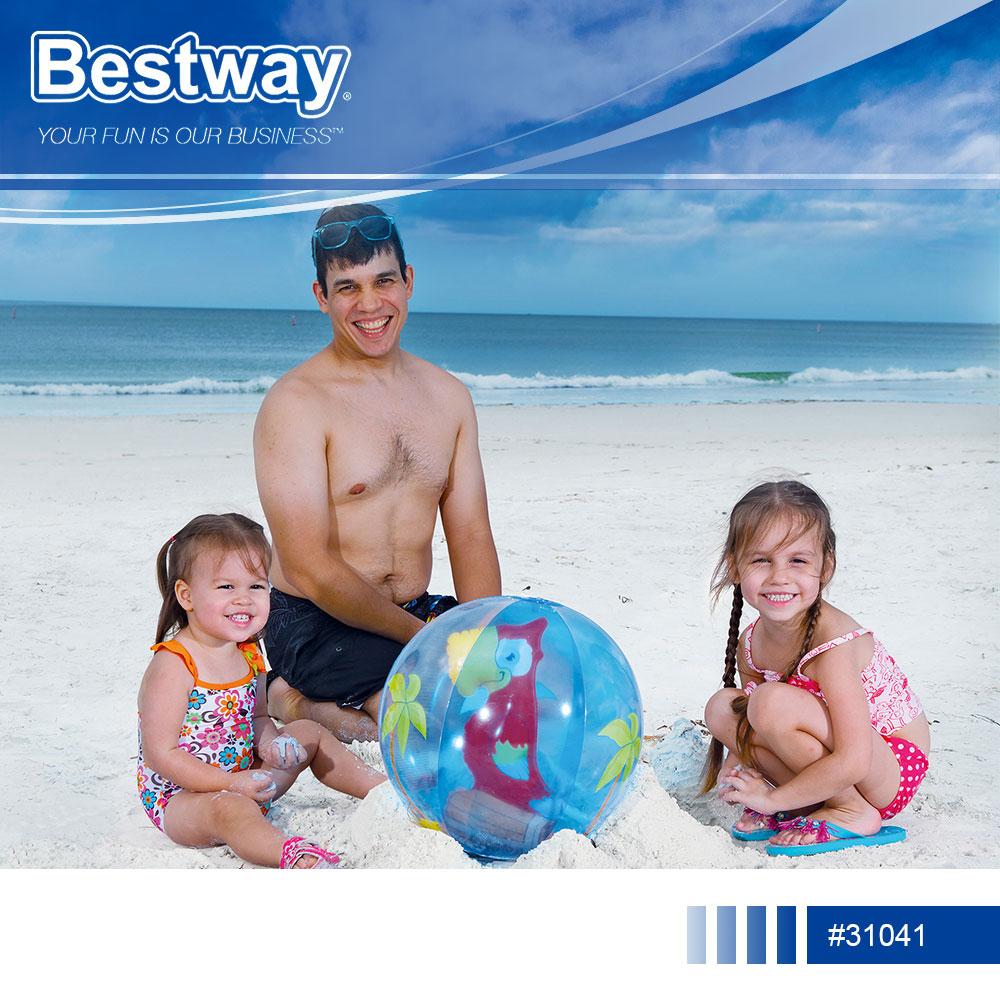 捷運新埔站*Bestway 31041動物充氣沙灘球51cm.20吋透明海灘球充氣球沙灘排球玩具球戲水球