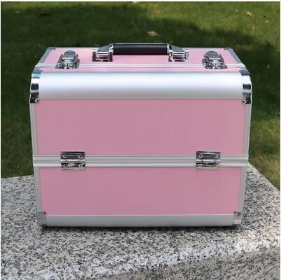 新款手提大號化妝箱專業化妝師必備紋繡工具箱彩妝箱大號粉色防火板