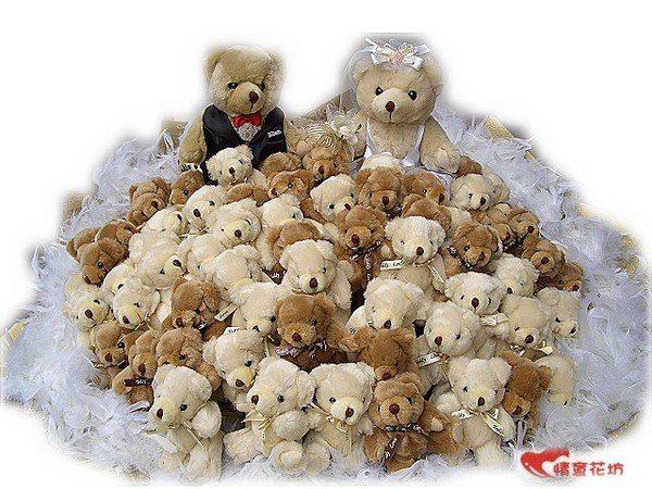 (WA-10)超人氣高評價情意花坊~情人花束超級新體驗~101隻熊熊煞到妳花束超低優惠價3999元!!