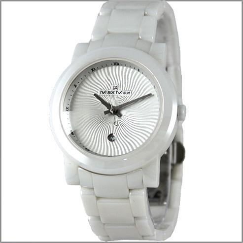 【萬年鐘錶】Max 陽紋白陶瓷錶 MAS-5080-W3