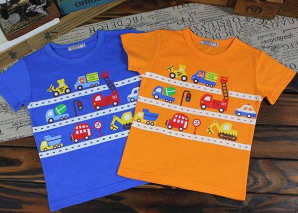 童裝大亨韓版專區13511車子短袖T顏色:橘藍共2色