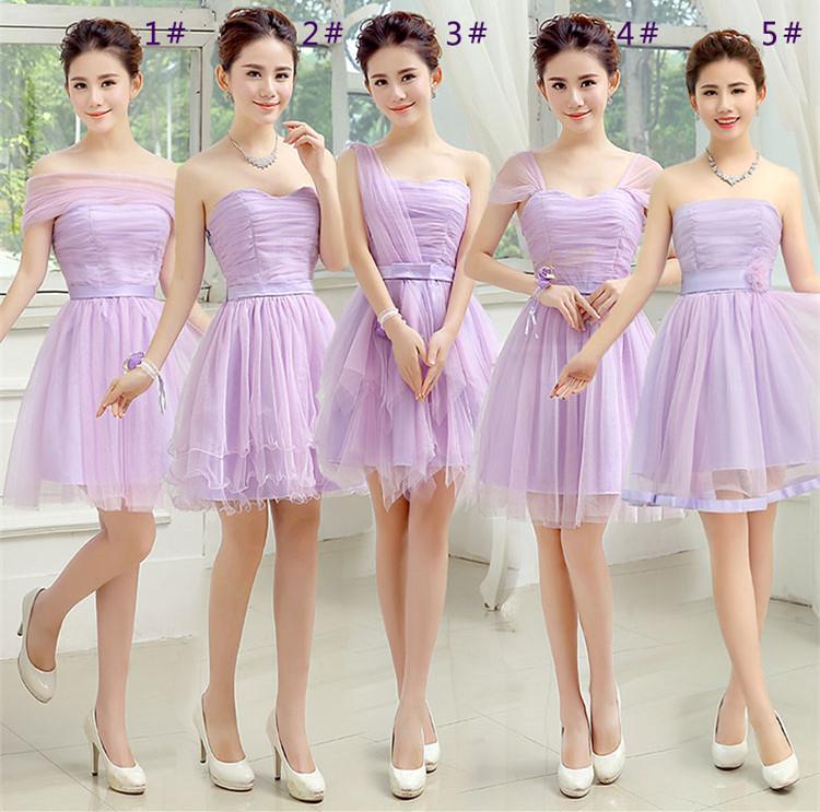 3C膜露露新款伴娘服夏伴娘團禮服短款結婚伴娘禮服姐妹裙畢業小禮服女-紫色款