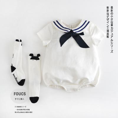 新生女童嬰兒寶寶爬服學院風全棉嬰幼兒衣服夏季連身衣包屁衣
