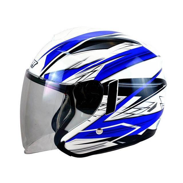 M2R FR1 FR-1 9雷霆白藍半罩安全帽3 4罩安全帽雙層遮陽鏡片免運費
