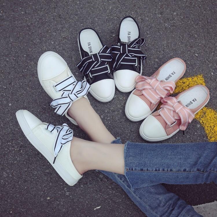 休閒鞋☆PINKPOKO粉紅波可☆ 百搭半拖鞋小白鞋帆布鞋韓版絲帶無後跟懶人鞋平底板鞋子3色預購