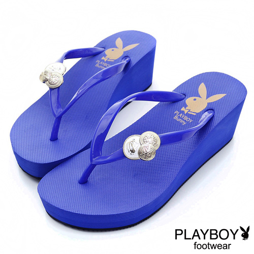 PLAYBOY皇家典範~兔頭徽章厚底夾腳拖鞋-藍女