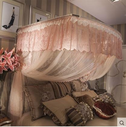 釣魚竿伸縮三開門不銹鋼落地宮廷紋帳U型1.8m床【1.8m(6英尺)床】