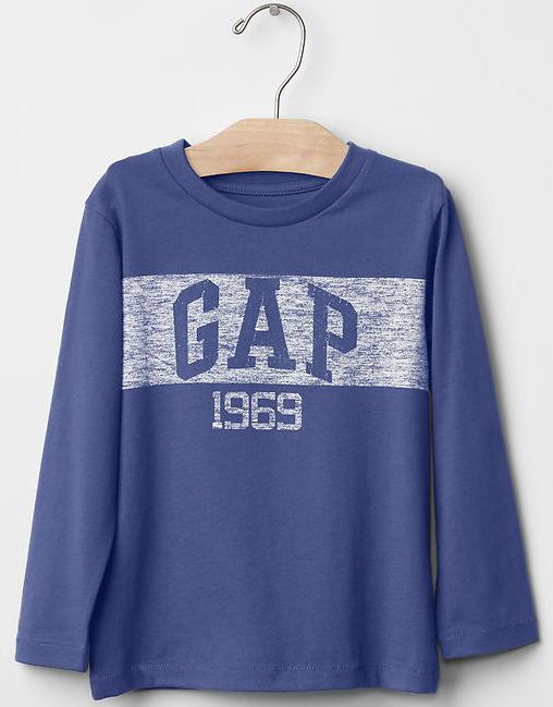 GAP童裝 上衣 Logo 棉T恤 藍色 2T 3T 5T