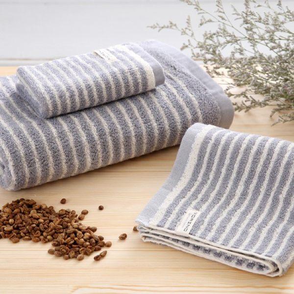 【MORINO】咖啡紗X有機棉橫紋方巾