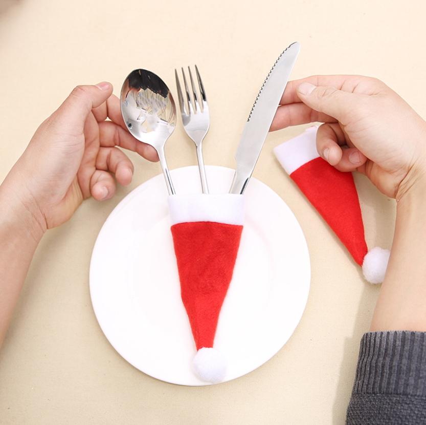 聖誕裝飾品聖誕小帽無紡布帽聖誕帽刀叉套聖誕酒瓶裝飾預購CH2408