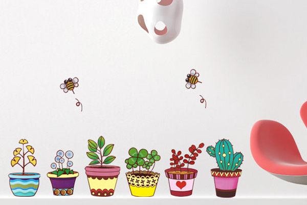 壁貼兒童房佈置設計花可愛盆栽客廳餐廳臥室教室裝潢佈置牆貼發現生活