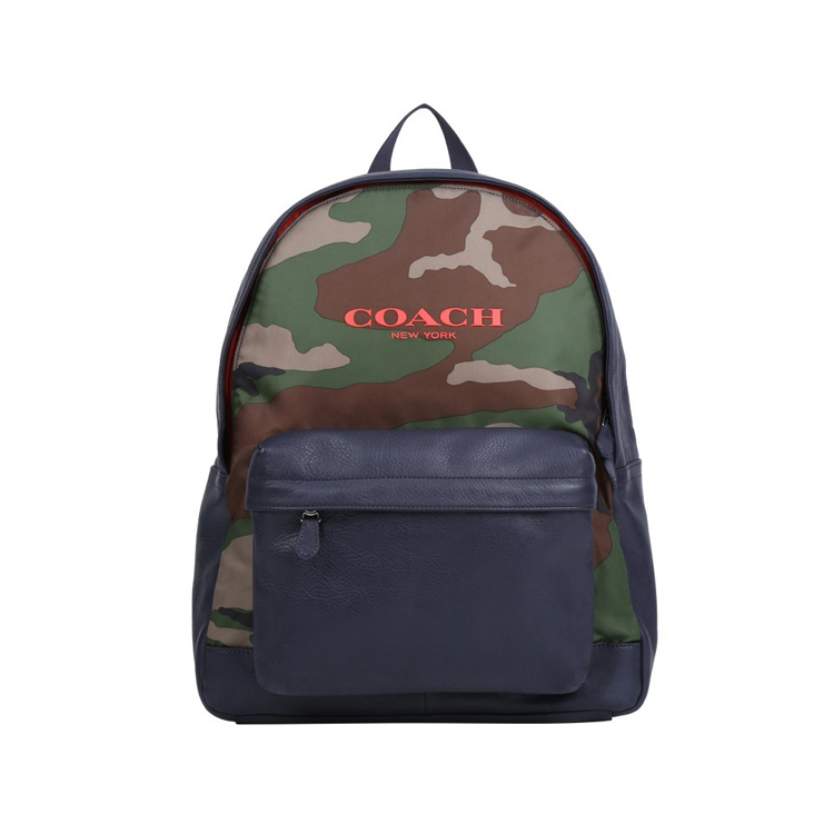 COACH F71755男款尼彩帆布配皮雙肩包男士旅行包