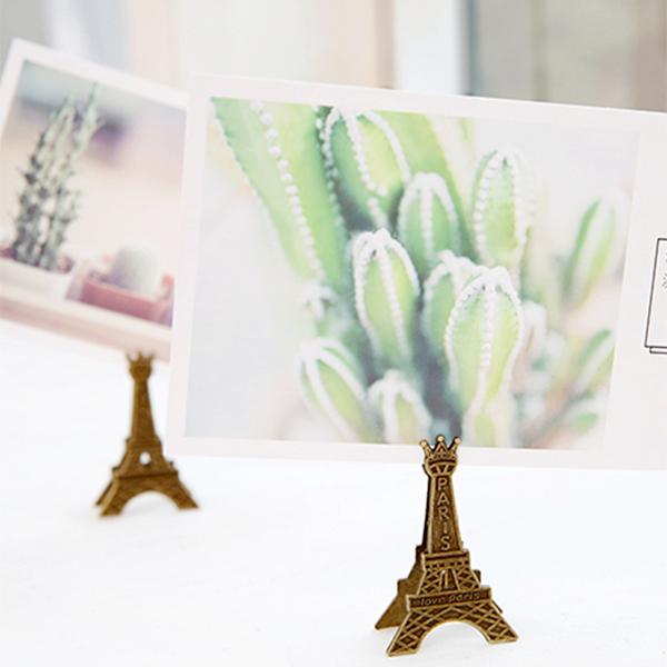 超值文具3件52折BlueCat金銅三皇冠頭巴黎鐵塔桌面彈性留言夾