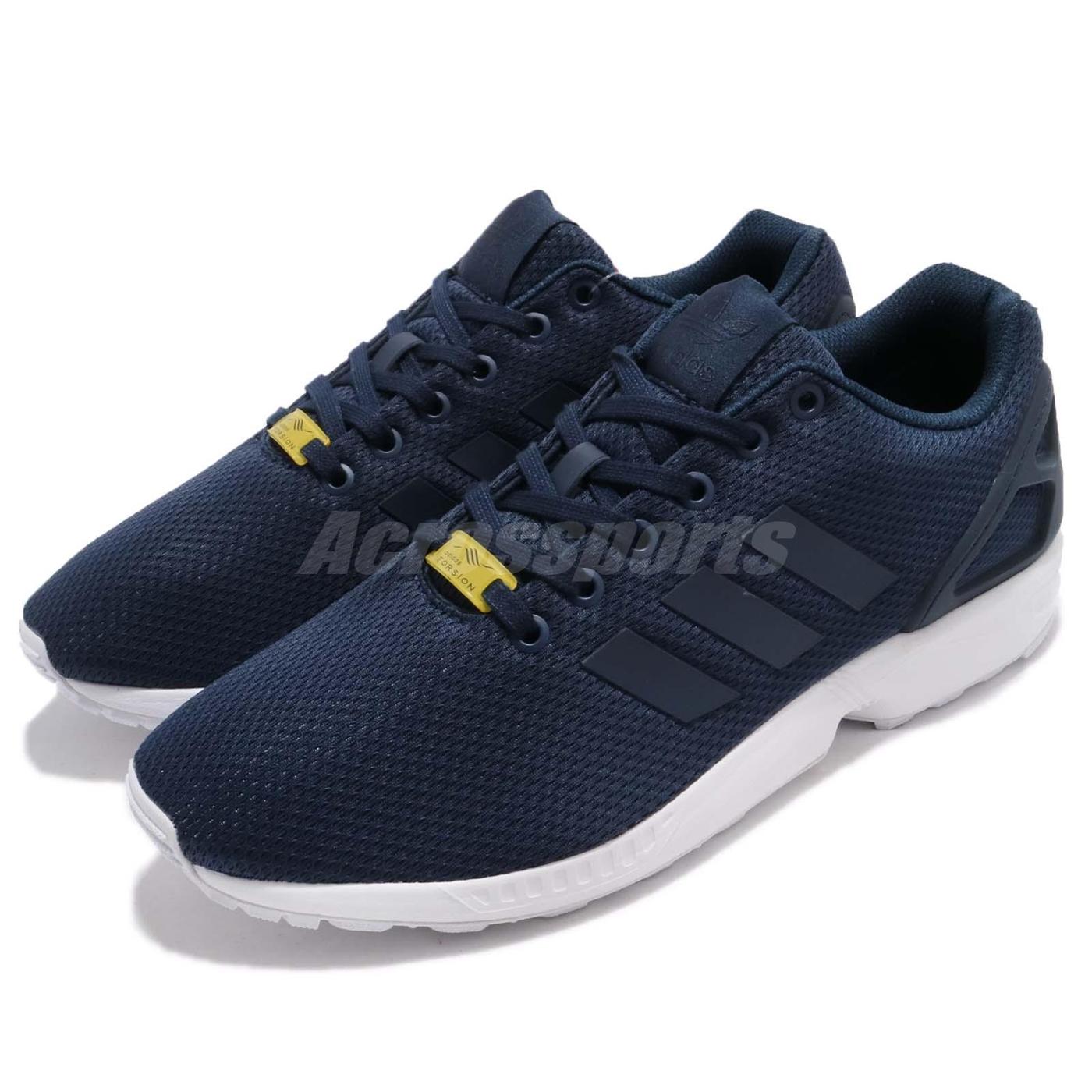 adidas休閒慢跑鞋ZX Flux藍白深藍色基本款百搭男鞋女鞋PUMP306 M19841
