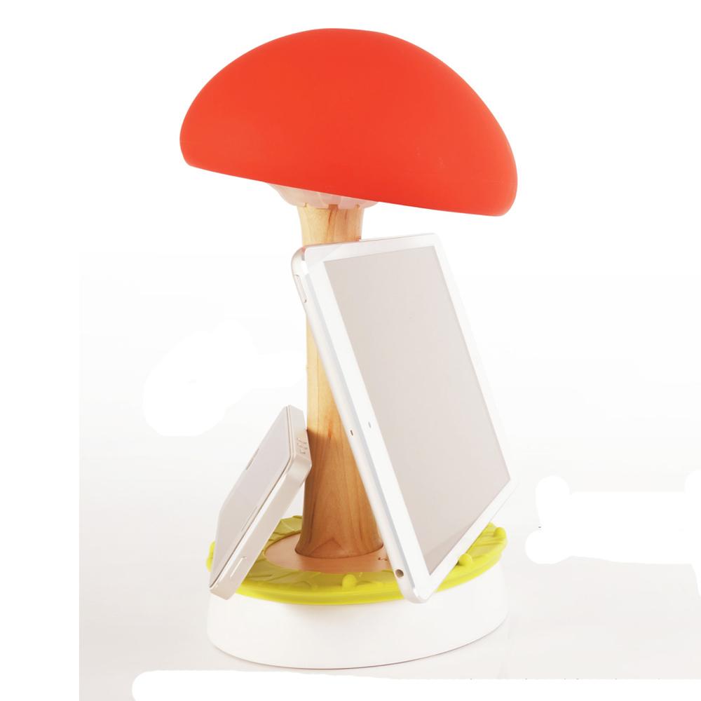 療癒系桌燈Vacii Mushroom 2埠USB充電座-紅蘑菇燈H D DESIGN