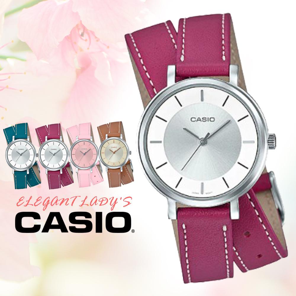 CASIO手錶專賣店國隆CASIO LTP-E143DBL-4A1真皮錶帶礦物玻璃50米防水
