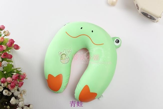 卡通青蛙造型U型枕奈米微粒粒子午睡枕護頸枕車用靠枕U型枕頭抱枕聚美小舖