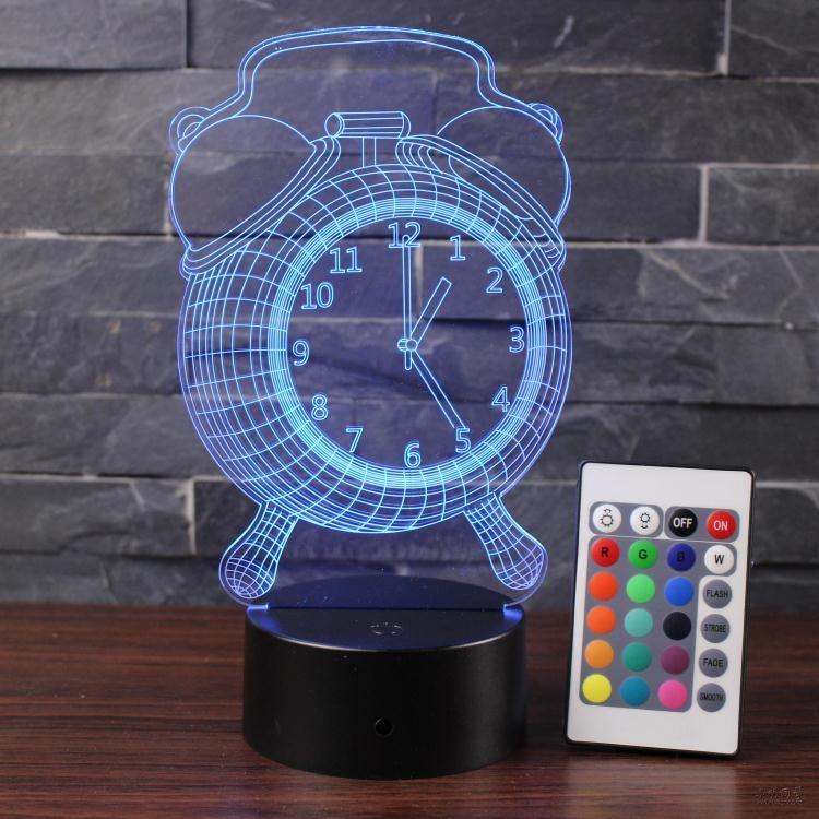 3D立體鬧鐘小夜燈遙控觸摸創意畢業禮物床頭台燈小明同學