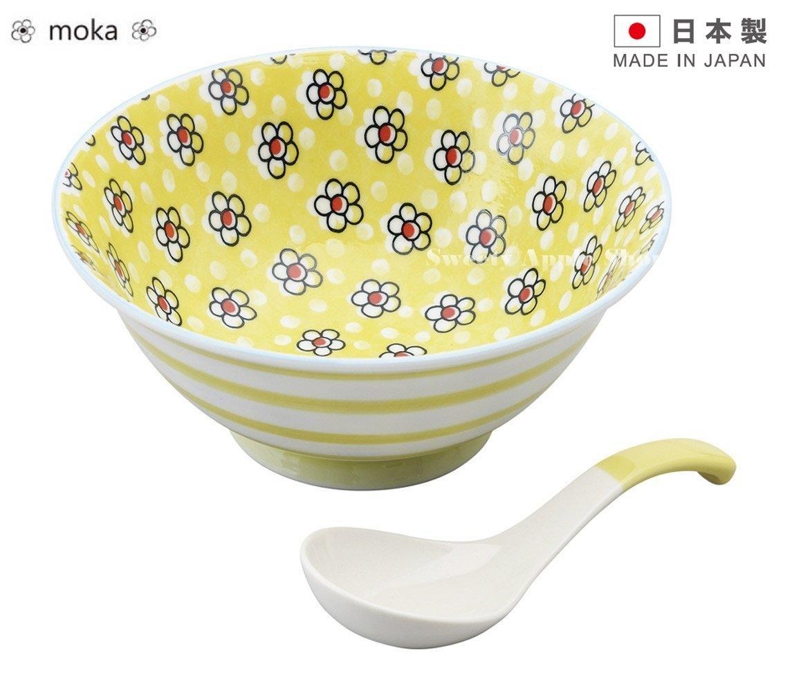 日本製日本限定moka陶瓷湯碗附湯匙套組黃色